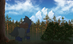 Size: 3120x1888 | Tagged: safe, artist:klooda, oc, oc only, oc:captain black lotus, changeling, adventure, backpack, bush, camping, changeling oc, cloud, commission, day, detailed, detailed background, forest, forest background, from behind, full body, grass, high res, journey, male, mountain, pine tree, raised hoof, realistic, rear view, scenery, solo, stallion, standing, tree, wood