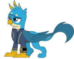 Size: 5000x3977 | Tagged: safe, artist:dashiesparkle, artist:ponygamer2020, gallus, griffon, fallout equestria, school daze, absurd resolution, clothes, cute, fallout, gallabetes, happy, jumpsuit, male, pipboy, raised eyebrow, simple background, solo, transparent background, vault suit, vector