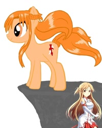 Size: 1080x1350   Tagged: safe, artist:ponyrefaa, earth pony, human, pony, clothes, duo, female, mare, ponified, simple background, sword art online, white background