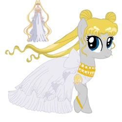 Size: 1080x1080   Tagged: safe, artist:ponyrefaa, human, pony, bracelet, clothes, dress, duo, eyelashes, female, jewelry, mare, ponified, princess serena (sailor moon), sailor moon, simple background, smiling, white background