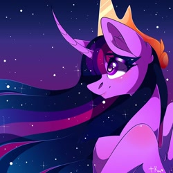 Size: 1080x1080 | Tagged: safe, artist:tessa_key_, twilight sparkle, alicorn, pony, the last problem, bust, crown, curved horn, ear fluff, ethereal mane, eyelashes, female, horn, jewelry, mare, older, older twilight, princess twilight 2.0, regalia, signature, smiling, solo, starry mane, twilight sparkle (alicorn), wings