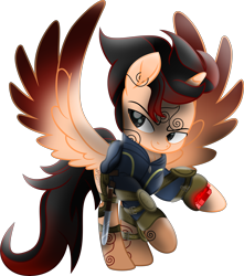 Size: 6961x7869   Tagged: safe, artist:lincolnbrewsterfan, derpibooru exclusive, oc, oc only, oc:rustic charm, alicorn, pony, fallout equestria, my little pony: the movie, .svg available, absurd resolution, alicorn oc, barding, clothes, coat markings, colored wings, determination, determined, determined face, determined look, determined smile, flourish, gradient mane, gradient tail, gradient wings, holster, horn, jacob hutzler, knee pads, knife, lidded eyes, male, mane, markings, mod, movie accurate, neck line, persona, pipbuck, pipbuck 3000, pipbuck rose 3000, pocket knife, ponified, ponysona, raised hoof, shield, simple background, solo, spread wings, stallion, stallion oc, straps, svg, swirls, tail, transparent background, vault suit, vector, wings, zipper