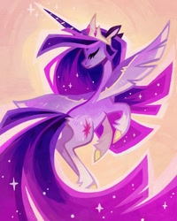 Size: 1080x1350 | Tagged: safe, artist:adreamera, twilight sparkle, alicorn, pony, the last problem, crown, ethereal mane, eyes closed, female, flying, horn, jewelry, mare, older, older twilight, princess twilight 2.0, regalia, solo, sparkles, spread wings, starry mane, twilight sparkle (alicorn), wings