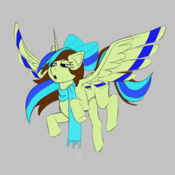 Size: 1000x1000   Tagged: safe, oc, oc only, oc:epsi, alicorn, pony, bow, clothes, cute, ethanepsc4, female, flying, hair bow, mare, scared, scarf