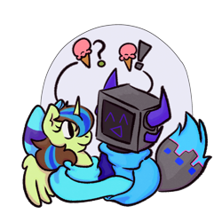 Size: 1500x1500   Tagged: safe, oc, oc only, oc:epsi, oc:ethanpower, alicorn, pony, robot, bow, cute, ethanepsc4, family photo, father and child, father and daughter, female, hair bow, lore, male, mare, protogen