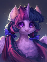 Size: 1000x1316 | Tagged: safe, artist:makkah, twilight sparkle, alicorn, pony, beautiful, bow, bust, chest fluff, cute, ear fluff, female, fluffy, hair bow, mare, pigtails, portrait, smiling, solo, twiabetes, twilight sparkle (alicorn), twintails