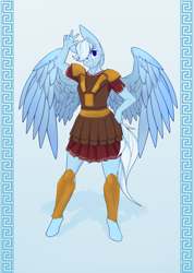 Size: 2700x3800 | Tagged: safe, artist:chapaevv, oc, oc only, oc:swift justice, pegasus, anthro, unguligrade anthro, armor, clothes, colored pupils, eyebrows visible through hair, greek, greek clothes, hand on hip, high res, looking at you, male, smiling, solo, spread wings, standing, wings