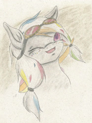 Size: 1686x2268   Tagged: safe, artist:cindertale, oc, oc only, earth pony, pony, bust, earth pony oc, female, freckles, goggles, mare, one eye closed, open mouth, solo, traditional art, wink