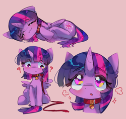 Size: 1058x1001 | Tagged: safe, artist:lexiedraw, twilight sparkle, alicorn, pony, unicorn, :3, :o, blushing, collar, leash, looking at you, open mouth, pet, pet play, pet tag, pony pet, question mark, sleeping, solo, twilight sparkle (alicorn)