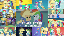 Size: 1975x1111   Tagged: safe, edit, edited screencap, editor:quoterific, screencap, applejack, curly winds, rainbow dash, some blue guy, a photo booth story, a queen of clubs, blue crushed, constructive criticism, eqg summertime shorts, equestria girls, equestria girls (movie), equestria girls series, fluttershy's butterflies, friendship games, legend of everfree, perfect day for fun, rainbow rocks, raise this roof, rollercoaster of friendship, sunset's backstage pass!, spoiler:eqg series (season 2), appledash, applejack's hat, bass guitar, belt, book, camp everfree outfits, clothes, constructive criticism: rainbow dash, controller, cowboy hat, crossed arms, cutie mark, cutie mark on clothes, denim skirt, duo, duo female, equestria land, eyes closed, fall formal outfits, female, footed sleeper, footie pajamas, geode of super speed, geode of super strength, hat, helping twilight win the crown, hoodie, jewelry, lesbian, lip bite, magical geodes, male, music festival outfit, musical instrument, necklace, one eye closed, onesie, open mouth, pajamas, school bus, shipping, skirt, sleepover, slumber party, smiling, surfboard, wink