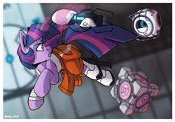 Size: 2048x1423   Tagged: safe, artist:lrusu, fluttershy, pinkie pie, twilight sparkle, pony, unicorn, companion cube, crossover, female, mare, personality core, portal, portal (valve), portal 2, portal gun, roboto, unicorn twilight
