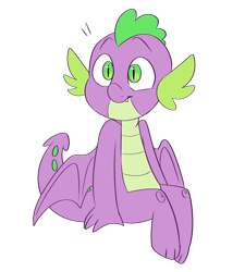 Size: 1280x1422 | Tagged: safe, artist:serfuzzypushover, spike, dragon, cute, male, simple background, sitting, smiling, solo, spikabetes, transparent background, winged spike
