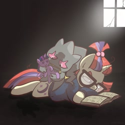 Size: 2048x2048 | Tagged: safe, artist:pfeffaroo, moondancer, banette, pony, unicorn, book, clothes, duo, female, frown, glasses, grudge, high res, holding, indoors, looking at something, lying down, mare, moondancer's sweater, plushie, pokémon, prone, reading, sweater, twilight sparkle plushie, window
