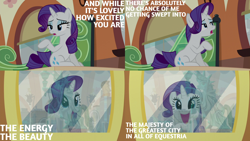 Size: 2000x1125 | Tagged: safe, edit, edited screencap, editor:quoterific, screencap, rarity, pony, unicorn, the gift of the maud pie, cute, friendship express, manehattan, open mouth, raribetes, smiling, solo
