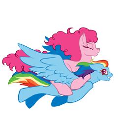 Size: 2000x2000 | Tagged: safe, artist:da_space_kase, artist:k_zanuels, artist:katsaka, pinkie pie, rainbow dash, earth pony, pegasus, pony, eyes closed, female, flying, lesbian, missing cutie mark, pinkie pie riding rainbow dash, pinkiedash, ponies riding ponies, riding, shipping, simple background, transparent background