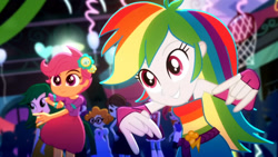Size: 3410x1920   Tagged: safe, screencap, rainbow dash, scootaloo, scribble dee, eqg summertime shorts, equestria girls, raise this roof, belt, clothes, cute, cutealoo, cutie mark, cutie mark on clothes, dashabetes, devil horn (gesture), fall formal outfits, female, fingerless gloves, gloves, high res, male, sleeveless, smiling