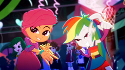 Size: 3410x1920   Tagged: safe, screencap, rainbow dash, scootaloo, scribble dee, eqg summertime shorts, equestria girls, raise this roof, armpits, belt, clothes, cutie mark, cutie mark on clothes, fall formal outfits, female, fingerless gloves, gloves, great moments in animation, lidded eyes, male, sleeveless, smiling