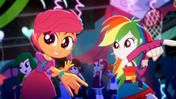 Size: 3410x1920   Tagged: safe, screencap, rainbow dash, scootaloo, scribble dee, eqg summertime shorts, equestria girls, raise this roof, armpits, belt, clothes, cute, cutie mark, cutie mark on clothes, dashabetes, devil horn (gesture), fall formal outfits, female, fingerless gloves, gloves, high res, male, sleeveless, smiling