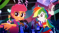Size: 3410x1920   Tagged: safe, screencap, golden hazel, rainbow dash, rose heart, scootaloo, scribble dee, sophisticata, sweet leaf, eqg summertime shorts, equestria girls, raise this roof, armpits, belt, clothes, cute, cutie mark, cutie mark on clothes, dashabetes, devil horn (gesture), fall formal outfits, female, fingerless gloves, gloves, high res, male, sleeveless, smiling