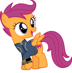 Size: 1024x1043 | Tagged: safe, artist:dashiesparkle, artist:ponygamer2020, scootaloo, pegasus, pony, fallout equestria, clothes, cute, cutealoo, cutie mark, fallout, female, filly, jumpsuit, pipboy, simple background, solo, the cmc's cutie marks, transparent background, vault suit, vector