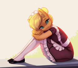 Size: 1500x1320   Tagged: safe, artist:mrscroup, applejack, earth pony, anthro, clothes, cute, flats, jackabetes, looking at you, maid, maidjack, shoes, sitting, smiling, socks, solo, thigh highs