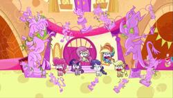 Size: 1147x645 | Tagged: safe, screencap, applejack, discord, fluttershy, pinkie pie, rainbow dash, rarity, twilight sparkle, alicorn, draconequus, earth pony, pegasus, pony, unicorn, back to the present, my little pony: pony life, pony life, spoiler:pony life s02e12, applejack's hat, cowboy hat, discord busts, discord statue, flying, hat, male, mane six, open mouth, shocked, twilight sparkle (alicorn)
