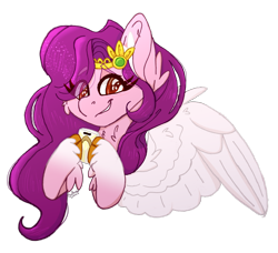 Size: 2448x2232 | Tagged: safe, artist:tizhonolulu, pipp petals, pegasus, pony, g5, adorapipp, bust, cellphone, chest fluff, colored pupils, crown, cute, ear fluff, eye clipping through hair, female, flapper, gem, high res, holding, hoof hold, jewelry, looking at you, mare, phone, red eyes, regalia, signature, simple background, smartphone, smiling, smiling at you, solo, spread wings, transparent background, unshorn fetlocks, wings