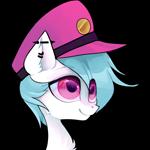 Size: 1000x1000 | Tagged: safe, alternate version, artist:minty--fresh, oc, oc:nimbus cloudington, pegasus, alternate design, big eyes, blue mane, cute, hat, male, peaked cap, pegasus oc, pfp, piercing, pink eyes, solo