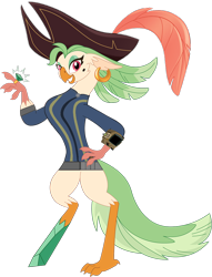 Size: 856x1121 | Tagged: safe, artist:kol98, artist:ponygamer2020, captain celaeno, bird, parrot, parrot pirates, anthro, fallout equestria, my little pony: the movie, amputee, clothes, fallout, female, hat, jewelry, jumpsuit, peg leg, pipboy, pirate, pirate hat, prosthetic leg, prosthetic limb, prosthetics, ring, simple background, smiling, solo, transparent background, vault suit, vector