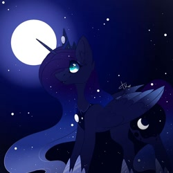 Size: 1080x1080 | Tagged: safe, artist:tessa_key_, princess luna, alicorn, pony, ear fluff, ethereal mane, female, hoof shoes, horn, jewelry, looking up, mare, night, outdoors, peytral, signature, solo, starry mane, tiara, wings