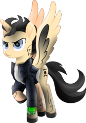 Size: 6196x8884 | Tagged: safe, artist:lincolnbrewsterfan, derpibooru exclusive, oc, oc only, oc:breaking point, alicorn, pony, fallout equestria, my little pony: the movie, .svg available, absurd resolution, alicorn oc, alternate universe, blue eye, blue eyes, clothes, colored wings, confidence, confident, denim, denim jacket, determination, determined, determined face, determined look, determined smile, fire, gradient wings, happy, highlights, hoof shoes, horn, looking up, male, mane, markings, mod, movie accurate, musician, neck line, pipbuck, pipbuck 3000, ponified, ponysona, raised hoof, shading, shirt, simple background, smiling, solo, spread wings, stallion, stallion oc, svg, t-shirt, tail, tattoo, transparent background, vector, white shirt, wings