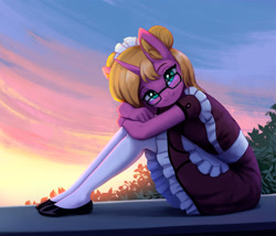 Size: 1900x1630   Tagged: safe, artist:mrscroup, oc, oc only, oc:bright star, unicorn, anthro, blushing, clothes, cute, dress, flats, glasses, looking at you, maid, meganekko, shoes, sitting, smiling, smiling at you, solo, stockings, sunrise, thigh highs