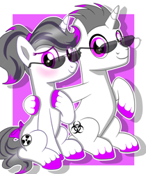 Size: 5300x6300 | Tagged: safe, artist:chip16, oc, oc only, oc:haze rad, oc:hazel radiate, pony, unicorn, absurd resolution, aviator glasses, base used, biohazard, blushing, bow, colored background, colored hooves, commission, commissioner:biohazard, duo, female, highlights, hoof on chest, horn, looking at you, male, mare, ponytail, radiation sign, rule 63, self ponidox, simple background, simple shading, sitting, smiling, stallion, sunglasses, tail bow, unicorn oc, unshorn fetlocks, ych result