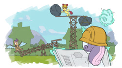 Size: 1200x675 | Tagged: safe, artist:gor1ck, apple bloom, scootaloo, sweetie belle, earth pony, pegasus, pony, unicorn, tabun art-battle, artificial wings, augmented, blueprint, boulder, cutie mark crusaders, exclamation point, female, filly, hand, hard hat, magic, magic hands, mechanical wing, seesaw, tabun art-battle finished after, telekinesis, this will end in pain, this will end in tears and/or death and/or covered in tree sap, trust me, trust me i'm an engineer, wings, 👌