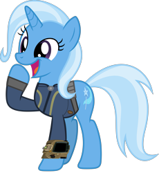 Size: 4597x5000 | Tagged: safe, artist:dashiesparkle, artist:ponygamer2020, trixie, pony, unicorn, fallout equestria, uncommon bond, absurd resolution, clothes, cute, diatrixes, fallout, female, happy, jumpsuit, mare, pipboy, simple background, solo, transparent background, vault suit, vector