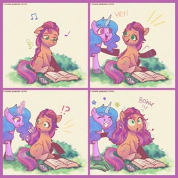 Size: 1920x1920 | Tagged: safe, artist:puyohh, izzy moonbow, sunny starscout, earth pony, pony, unicorn, g5, 4 panel comic, :o, :p, alternate hairstyle, book, cellphone, chest fluff, comic, cute, duo, earbuds, exclamation point, eyes closed, female, glowing horn, grass, grin, hairband, horn, interrobang, izzybetes, levitation, loose hair, magic, mare, music notes, open mouth, phone, question mark, raised hoof, reading, sitting, smartphone, smiling, sunnybetes, surprised, telekinesis, tongue out, unshorn fetlocks, waving