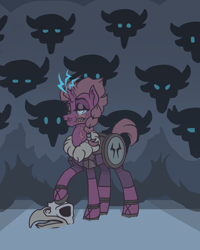 Size: 4000x5000   Tagged: safe, artist:pidffee, tempest shadow, storm creature, unicorn, alternate design, armor, blind eye, boots, braid, clothes, dark, eye scar, female, glowing horn, headcanon, horn, mare, redesign, scar, shoes, short mane, short tail, simple background, simple shading, skull, snow, sparks, unamused, viking