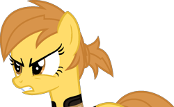Size: 1103x678   Tagged: safe, artist:kingbases, artist:pegasski, oc, oc only, oc:anna autumn, earth pony, pony, fallout equestria, angry, base used, bust, earth pony oc, eyelashes, female, mare, simple background, solo, transparent background