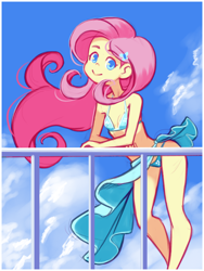 Size: 1220x1620 | Tagged: safe, artist:drantyno, fluttershy, equestria girls, adorasexy, bikini, breasts, clothes, cute, fence, sexy, shyabetes, sky, solo, swimsuit
