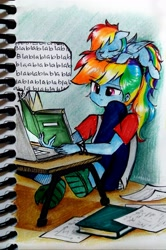 Size: 2695x4067   Tagged: safe, artist:liaaqila, rainbow dash, pegasus, pony, equestria girls, blue fur, blue skin, book, bored, clothes, computer, cute, dashabetes, duo, duo female, egghead, egghead dash, eye clipping through hair, eyebrows, eyebrows visible through hair, eyes closed, female, high res, human ponidox, indoors, laptop computer, liaaqila is trying to murder us, mare, multicolored hair, multicolored tail, on head, pajamas, paper, pink eyes, pony hat, ponytail, rainbow hair, rainbow tail, reading, relatable, riding, self ponidox, self riding, shirt, shoes, sitting on head, sleeping, slippers, smoldash, sneakers, studying, t-shirt, tank slippers, tiny, tiny ponies, watermark, zoom