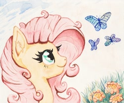 Size: 1200x1000 | Tagged: safe, artist:nedemai, fluttershy, butterfly, pegasus, pony, cute, female, flower, fluttershy day, mare, shyabetes, solo, traditional art, watercolor painting