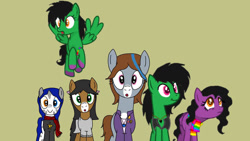 Size: 1280x720 | Tagged: safe, artist:shycookieq, oc, oc only, earth pony, pegasus, pony, :o, brown background, clothes, collaboration, colored hooves, earth pony oc, eyelashes, female, flying, heterochromia, mare, open mouth, pegasus oc, simple background, wings