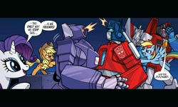 Size: 2000x1200   Tagged: safe, artist:jack lawrence, applejack, rainbow dash, rarity, earth pony, pegasus, pony, robot, unicorn, idw, the magic of cybertron, spoiler:comic, spoiler:friendship in disguise, autobot, cybertronian, decepticon, embarrassed, facepalm, female, hug, male, mare, optimus prime, shockwave, starscream, transformers