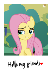 Size: 3969x5417   Tagged: safe, derpibooru exclusive, fluttershy, pegasus, pony, absurd resolution, bedroom eyes, looking at you, photoshop, polaroid, smiling, smiling at you, smugshy, solo