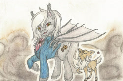Size: 2447x1613 | Tagged: safe, artist:cindertale, oc, oc only, oc:cinder, bat pony, deer, pony, bat pony oc, bat wings, chest fluff, clothes, deer oc, duo, ear fluff, eyes closed, heart, male, raised hoof, smiling, stallion, traditional art, wings