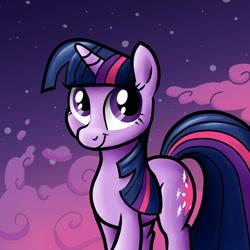 Size: 1280x1280 | Tagged: safe, artist:sirtreasurehunter, twilight sparkle, pony, unicorn, cloud, female, looking at you, mare, night, smiling, solo, unicorn twilight