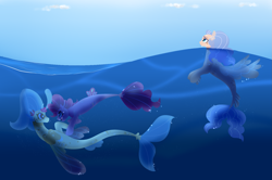 Size: 1673x1108 | Tagged: safe, artist:iouise, pinkie pie, princess skystar, oc, oc:aloha driftwood, earth pony, pegasus, pony, seapony (g4), my little pony: the movie, blue eyes, bubble, female, fin wings, fins, fish tail, flower, flower in hair, flowing tail, freckles, lesbian, looking at each other, looking up, magical lesbian spawn, offspring, open mouth, seaponified, seapony pinkie pie, shipping, sky, skypie, smiling, species swap, tail, underwater, water, wings