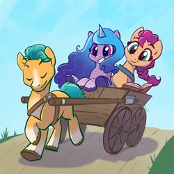 Size: 2048x2048 | Tagged: safe, artist:pfeffaroo, hitch trailblazer, izzy moonbow, sunny starscout, earth pony, pony, unicorn, g5, book, cart, female, grass, male, mare, path, smiling, stallion, unshorn fetlocks