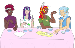 Size: 3000x1945   Tagged: safe, artist:ichiban-iceychan1517, artist:sychia, color edit, edit, fizzlepop berrytwist, starlight glimmer, sunset shimmer, tempest shadow, trixie, butterfly, human, alternate hairstyle, bowl, brush, bunny ears, chick, clothes, collaboration, colored, dark skin, easter, easter egg, egg, eye scar, female, floral head wreath, flower, hairband, high res, holiday, humanized, napkin, paint, paintbrush, painting, scar, shirt, simple background, spoon, t-shirt, table, tablecloth, tanktop, transparent background, trixie is not amused, unamused