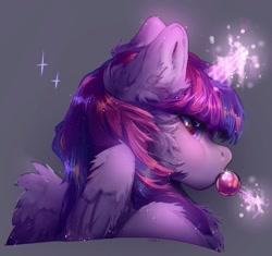 Size: 1035x974 | Tagged: safe, artist:grach_449, twilight sparkle, alicorn, pony, candy, chest fluff, ear fluff, female, food, levitation, lollipop, magic, mare, solo, sparkles, sucker, telekinesis, twilight sparkle (alicorn)